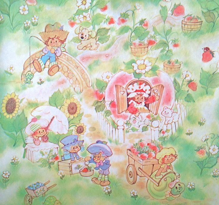 https://www.etsy.com/listing/216778086/retro-vintage-70s ...  Vintage Strawberry Shortcake Wallpaper
