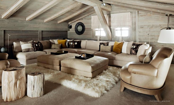 Living Room Decoration by Kelly Hoppen. @kellyhoppen Ski Chalet in France. Rugs, exclusive sofa, side table, exclusive design, luxury furniture. For more design news: http://www.bocadolobo.com/en/news-and-events