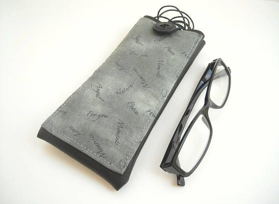 Gray and black eco leather neck pouch large eyeglass case