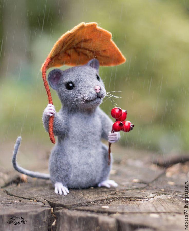 Под осенним дождем. Валяем мышонка с осенним листиком - Ярмарка Мастеров…
