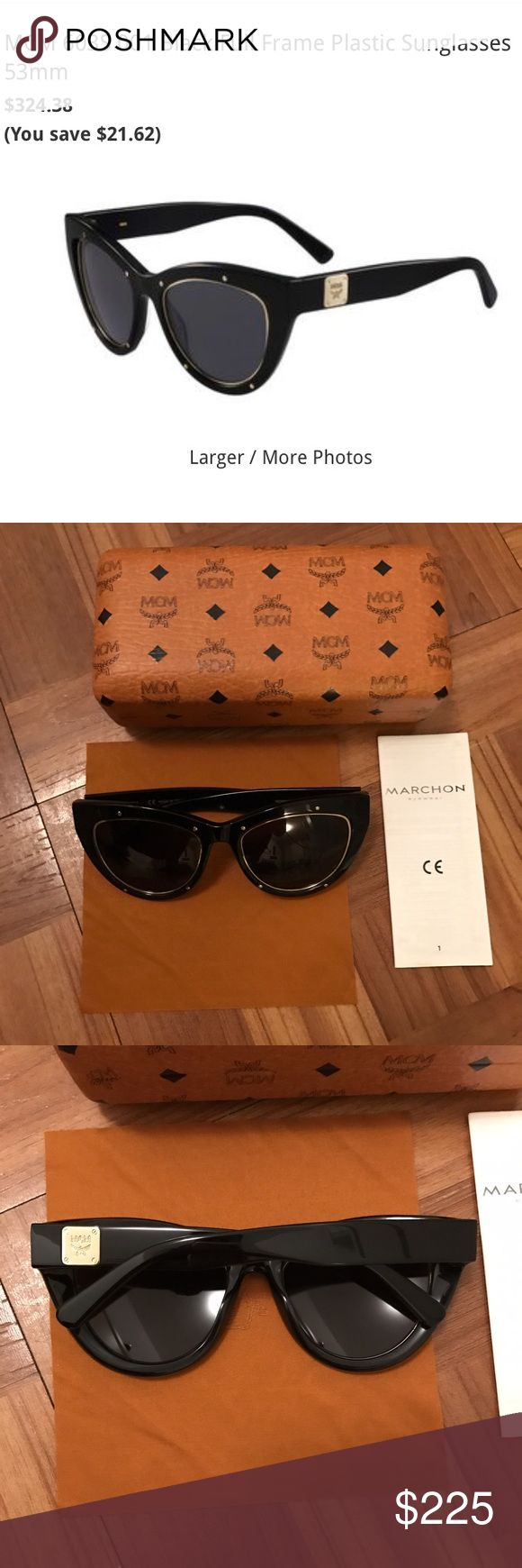 MCM brand new box cat eye black gold sunglasses Brand new in the box / case with dust cloth and manufacturer card. Brand : MCM Model : 603S Color : 001 Black Size  : 53mm-18mm-140mm Gender: Women Made in Italy Packaging Includes: MCM sunglasses case, MCM cleaning cloth, manufacturer booklet MCM Accessories Sunglasses