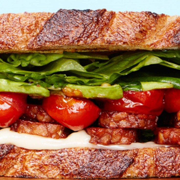 "Tempeh ""Bacon,"" Lettuce, and Tomato Sandwich"