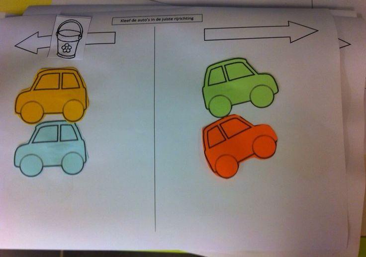Thema verkeer. Kleef de auto's in de juiste rijrichting. Juf Tess