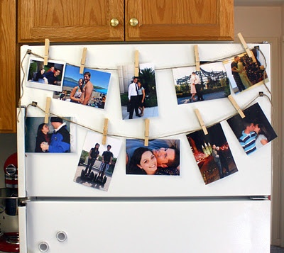 clothesline pictures on the fridge