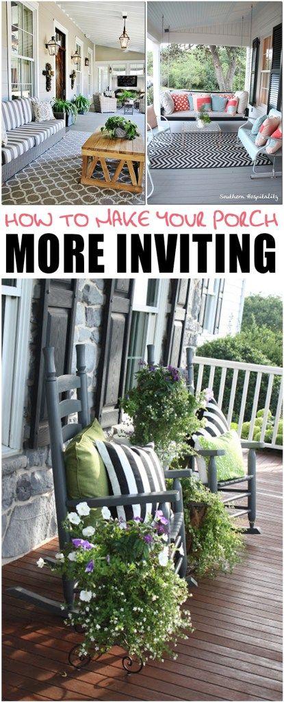 Porches, decorating porches, porch inspiration, popular pin, DIY home improvement, home upgrades, DIY home improvement, easy home improvement, outdoor living.