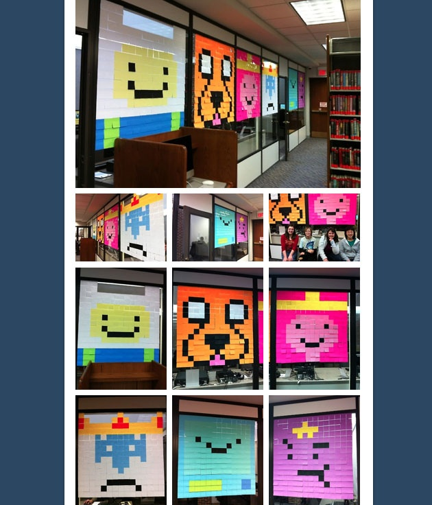 To celebrate Teen Tech Week, each location of the Naperville Public Library brought back our popular Post-It Note Art! Each building's TAGTeam (Teen Advisory Group) created something different!  At the Naper Blvd Library location, the teens recreated characters from the Cartoon Network Show, Adventure Time!  http://teenspacenpl.tumblr.com/post/45193734533/to-celebrate-teen-tech-week-each-location-of-the