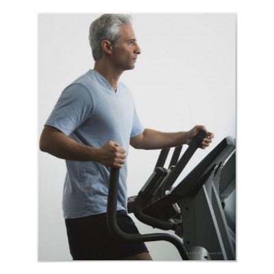 Option 4:    Man exercising on Stairmaster Poster