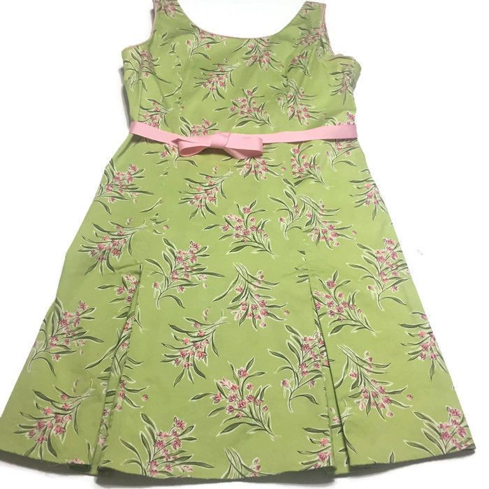 Sag Harbor Green With Pink Flowers Pink Ribbon Belt Sleeveless Size 16 Summer #SagHarbor #SheathDress #AnyOccasion