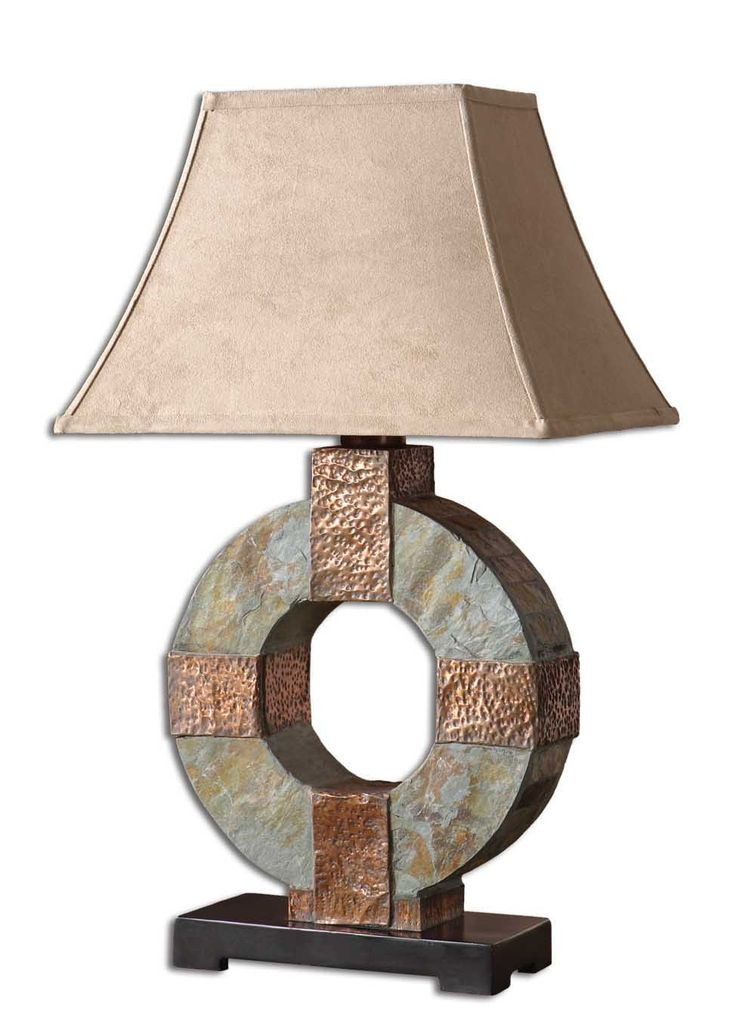 Nautical lamps that can be displayed indoor or outdoors uttermost slate table lamp is made of real hand carved slate with hammered copper details