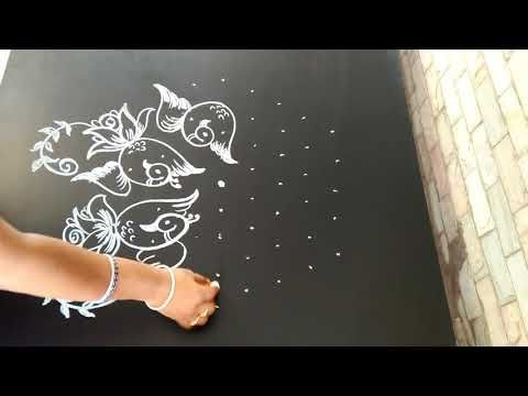 Easy rangoli design   roses and birds   Aryaani designs   9