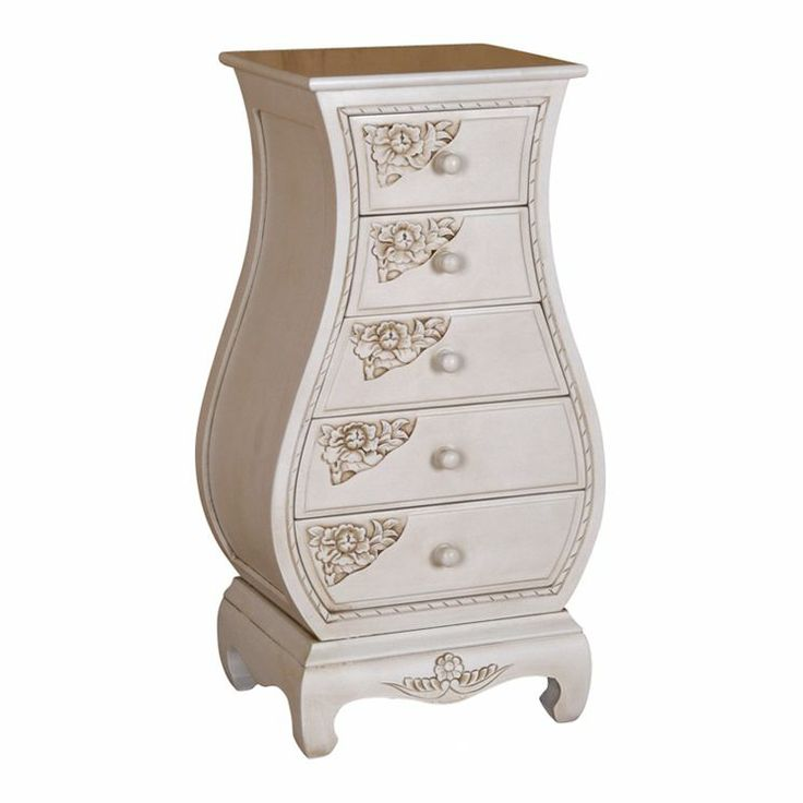 Bombay 5 Drawer Chest in White