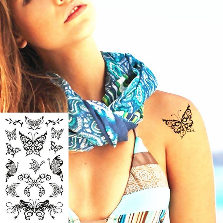 Боди-Арт Большая Бабочка Фея Временные Боди-Арт Флэш Татуировки Наклейки 10*17 см Водонепроницаемый Хной Поддельные Татуировки Стены Стикер татуировки