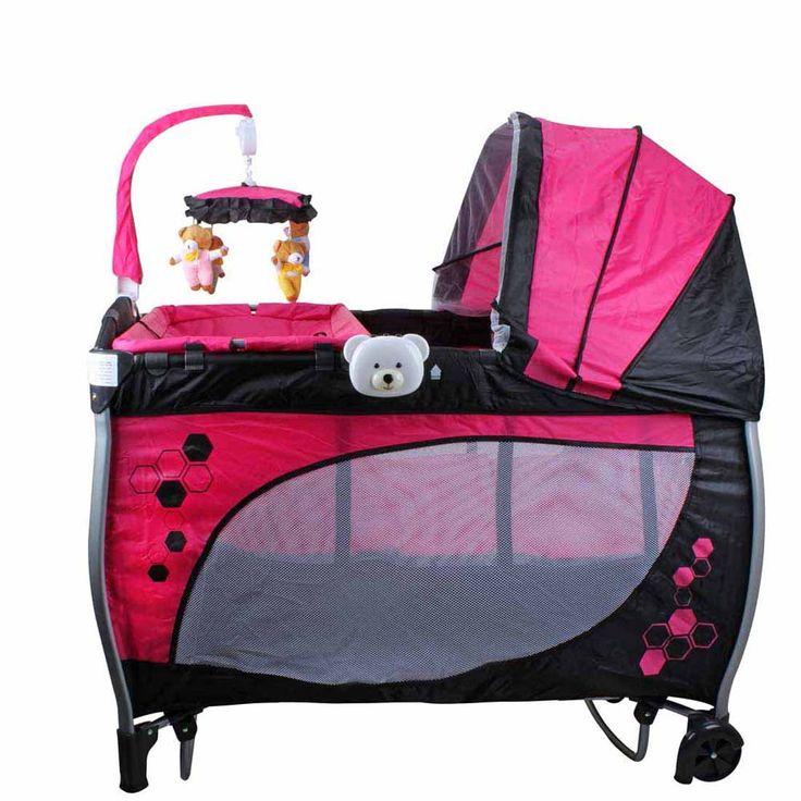 Berço Balanço Baby Style com Trocador, Função Musical, Vibratória e Luz Noturna Rosa 1448 403221