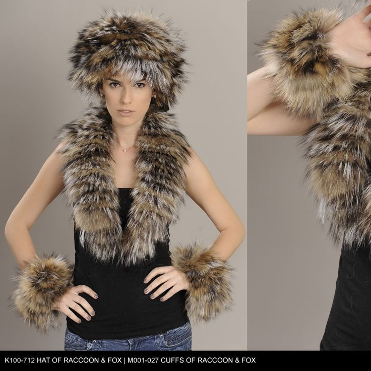 Hat and Cuffs of Raccoon & Fox fur. Available for wholesale orders.