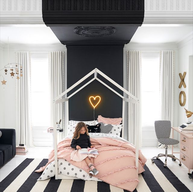 Pottery Barn Little Girls Room Inspo Black White And Pink Girls Bedroom Ideas White Girls Rooms Pink Bedroom For Girls White Girls Bedroom