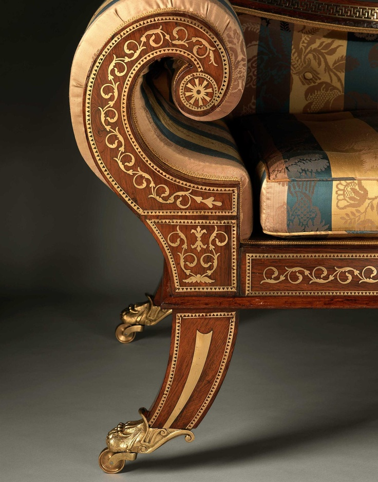 A REGENCY ROSEWOOD CHAISE LONGUE circa 1810