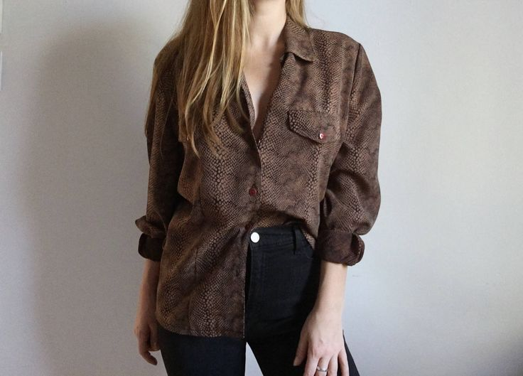 Vintage Snake Print Loose Fit Blouse // Dan Valy 90's Buttoned Shirt http://etsy.me/2jIpuW9 #clothing #women #blouse #snake #print #printed #buttoned #buttondown #button