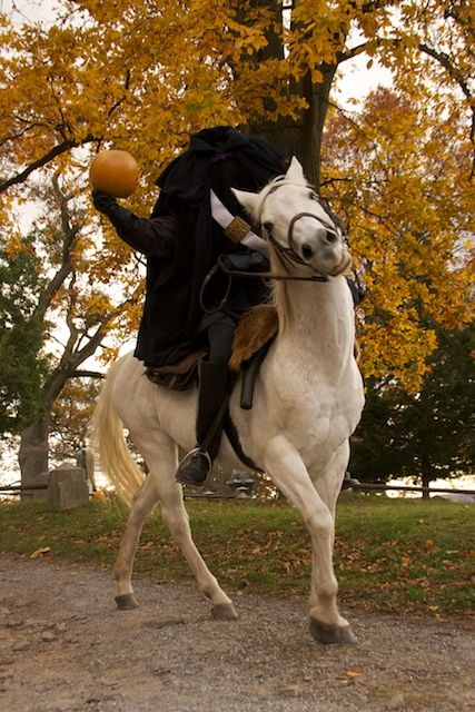 Headless Horseman making an appearance at the Sleepy Hollow Cemetary