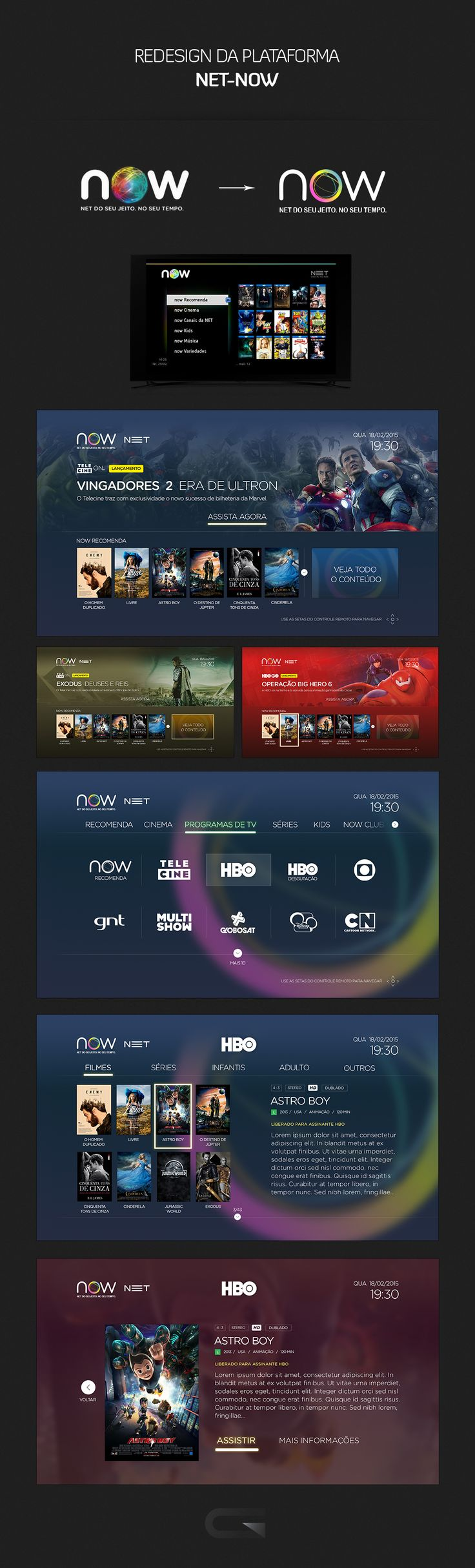 Redesign da plataforma para serviço de TV a cabo da NET TV -NOW------------------------------------- Redesign for cable TV service of NET TV - NOW