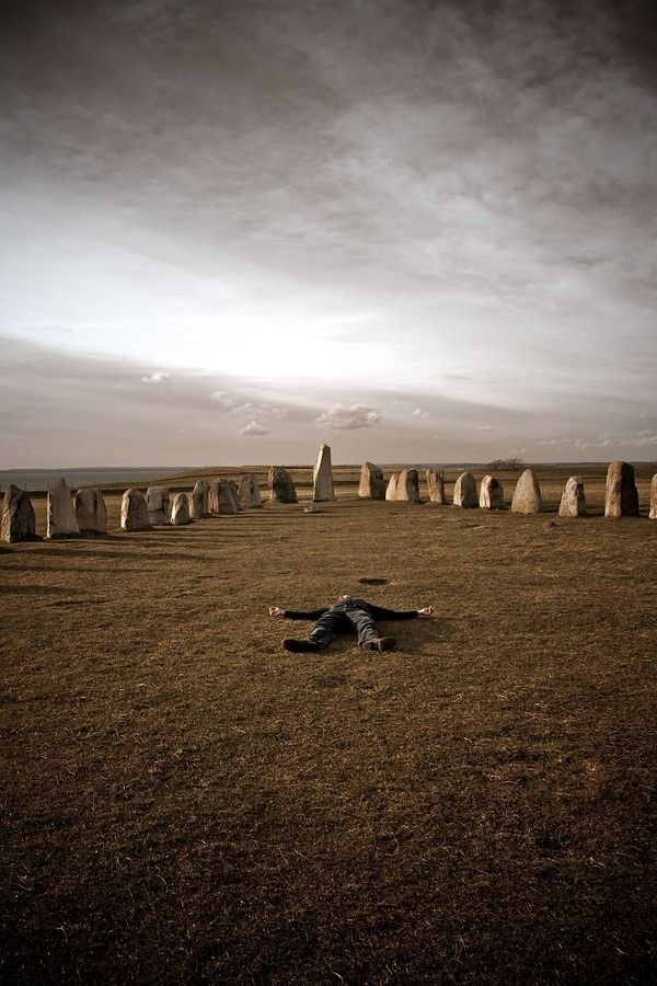 According to legend this boat-shaped henge is built over the grave of a mythic king