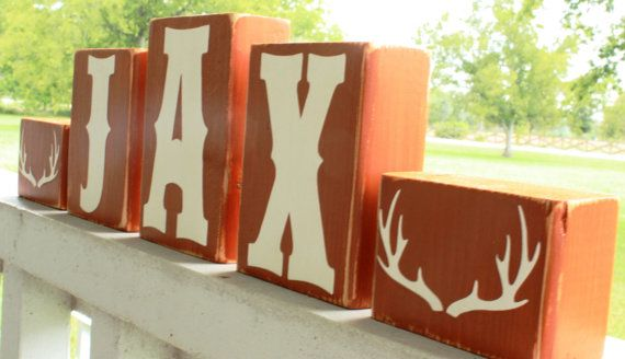 PERSONALIZED LETTER BLOCKS - Deer Antlers Sign - Rustic Lodge Nursery - Baby Rack Decor Country Hunting Horns - Cabin Name on Etsy, $5.50