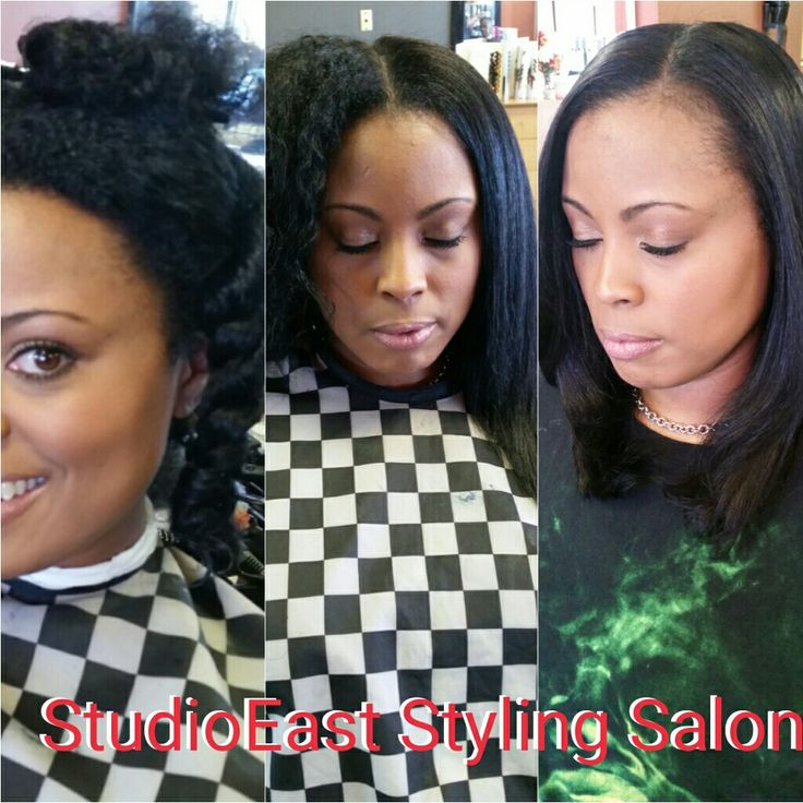 Blow out and flat iron on relaxer free hair.