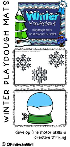FREEBIE!  Winter themed playdough mats for pre, kinder and Grade 1.  Aimed at developing students fine motor skills and creative thinking.