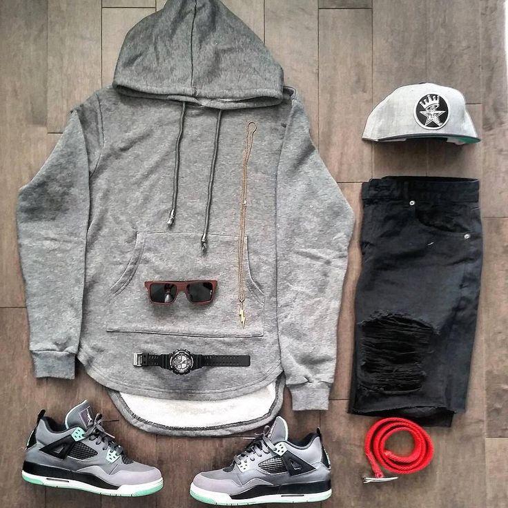 rejilla traje - sudadera con capucha gris, pantalones vaqueros negros