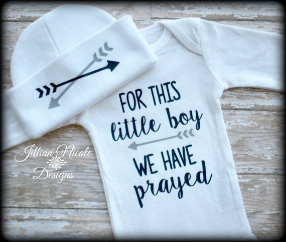 """For This Little Boy We Have Prayed"" Onesie And Hat Set By Jillian Nicole Designs on Etsy. https://www.etsy.com/listing/270006571/for-this-little-boy-we-have-prayed?ref=shop_home_active_8"