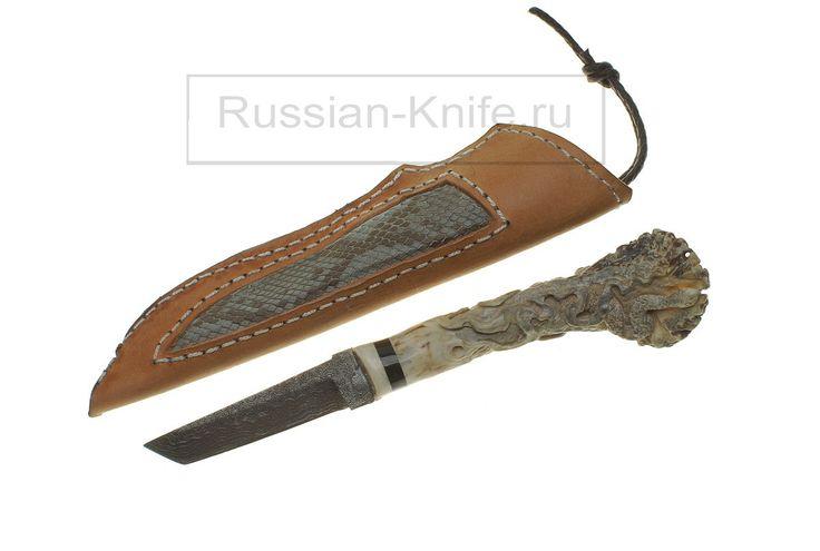 """Нож """"Лягушка"""" Дамаск, рог оленя, кожа. """"Frog"""" knife. Damascus, antler, leather. #купить #авторский #нож #ручной #работы #ножи #изготовление #охотничьи #тактические #оружие #ножик #эксклюзив #ручнаяработа #подарокмужчине #мачете #ножны #холодное #knife #knives #customknives #handmade #knifecommunity #knifecollection #weapon #giftforhim #machete #blade #blades #hunting #survival"""