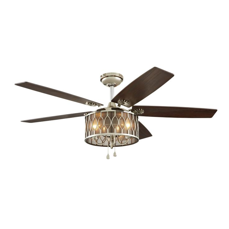 Shop Harbor Breeze Angora Harbor 52-in Polished Nickel Downrod Mount Indoor Ceiling Fan with Light Kit at Lowes.com