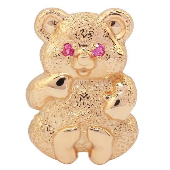 """Брошь """"Мишка"""":  Красное золото,  2 природных розовых сапфира 0,04 карата"""