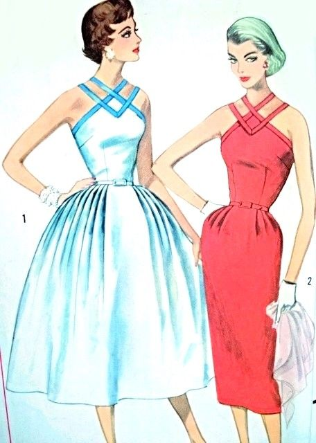 1950s Bombshell Strappy Cocktail Party Evening Dress Pattern Simplicity 2106 Slim or Full Skirt Figure Flattering Design Bust 32 Vintage Sewing Pattern