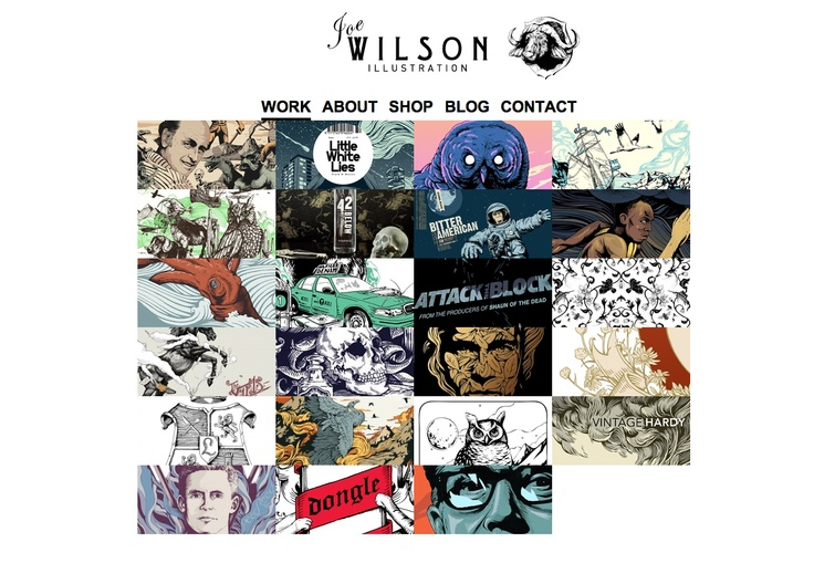 Joe Wilson Illustration Website. Another clean example which is laid out centrally.