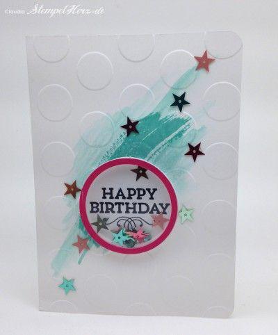 Stampin Up - Stempelherz - Geburtstagskarte - Happy Birthday - Schuettelkarte - Shaker Card - Hey You - Prägeform Große Punkte - Schuettelka...