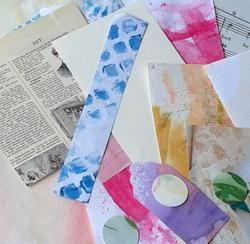 Looking for a perfect bit of paper? This smash book paper kit with assorted hand painted papers, punch outs, and other paper bits will add spice to your stash. Use them just as they are, cut or tear t