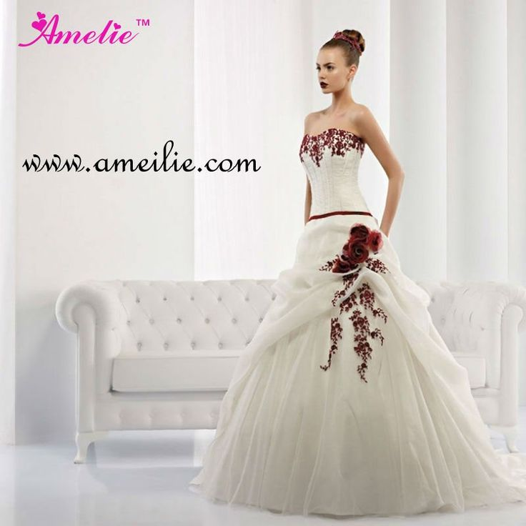 2013 strapless embroidery tulle ball gown red and white wedding dresses