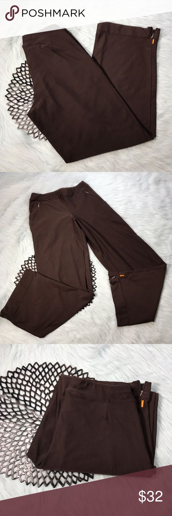 Lucy Activewear Brown Everyday Workout Tall Pants Lucy Activewear Brown The Everyday Workout Tall Pants w/ zippered pockets and ankles. Size Tall Small. Made of 88% micro poly & 12% lycra. Pre-owned, but in excellent used condition. No holes, stains or pilling. Measurements: Waist laying flat is 15 inches. Length is 43 inches. Inseam is 34 inches. Rise is 13 inches. Lucy Pants Track Pants & Joggers