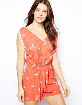 Liquorish Coral Flamingo Print Beach Playsuit