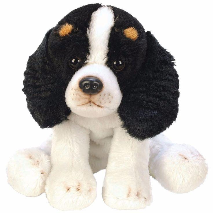 Pluche knuffel Cavalier King Charles Spaniel. Dit honden knuffeltje is een Cavalier King Charles Spaniel in het wit/zwart. Het heeft een formaat van ongeveer 12,7 cm.