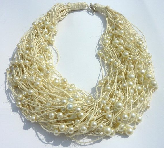 N.02. Not only for the Bride Ivory Linen necklace with light ivory pearls