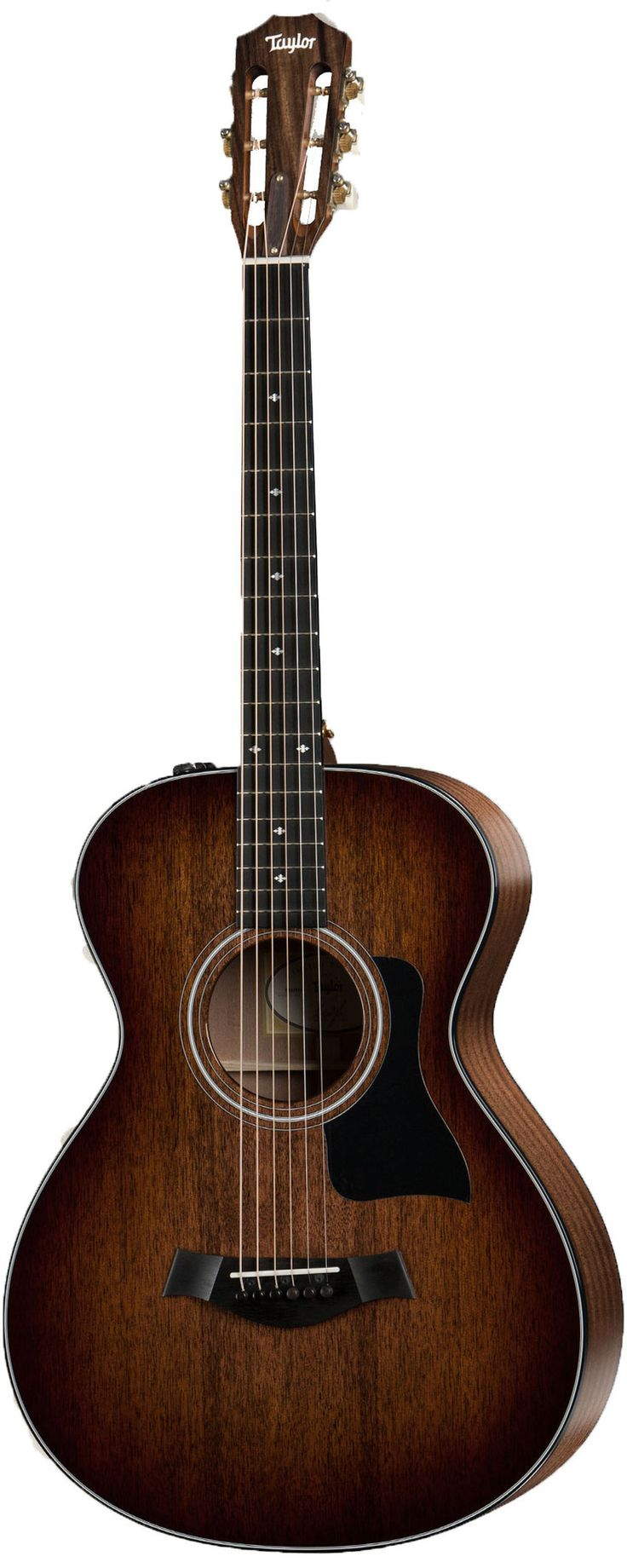 """A Compact and Comfortable Playing Experience Taylor has given a shorter 24-7/8"""" scale length to a mahogany and sapele Grand Concert body to produce the 322e, a wonderful and easy six-string machine. T"""