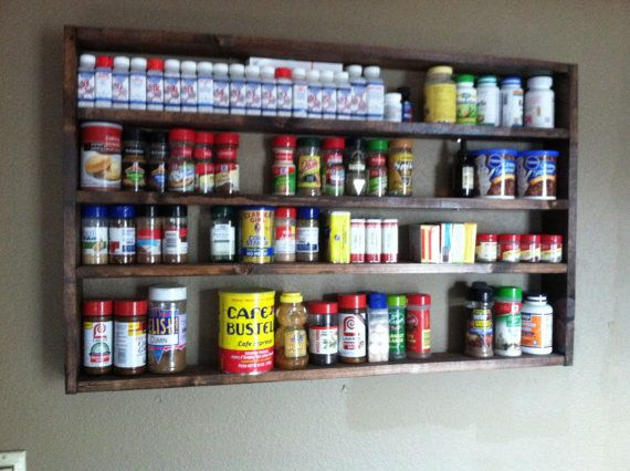 Large Spice Rack w/ backboard by nidification on Etsy, $65.00