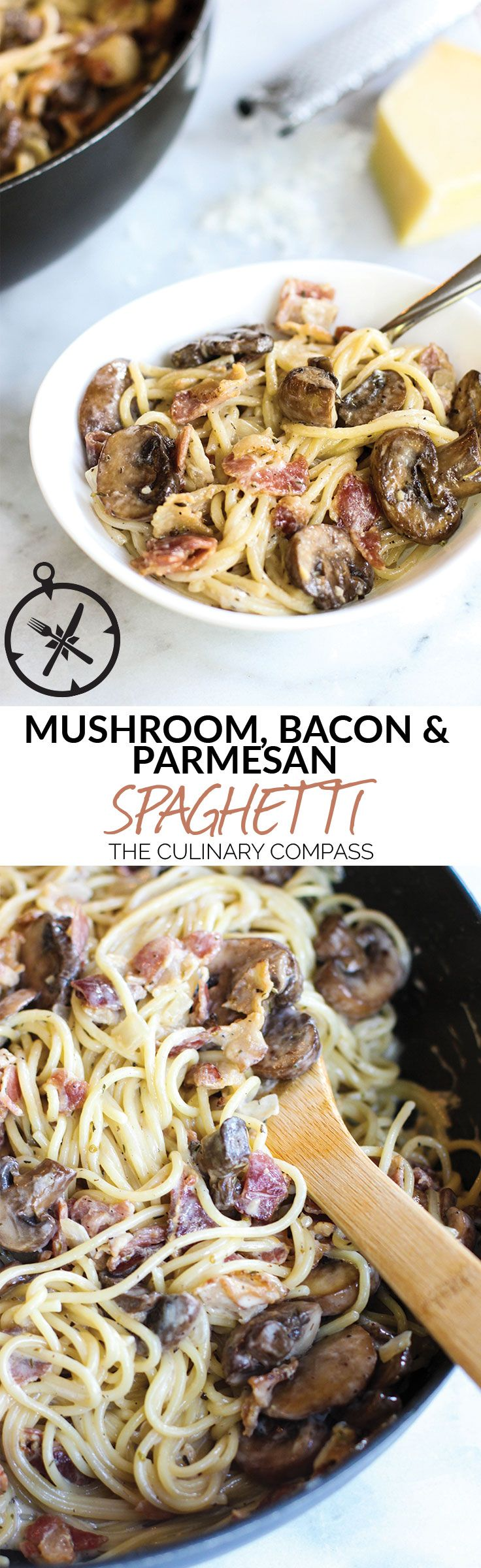 Mushroom, Bacon, and Parmesan Spaghetti via @culinarycompass