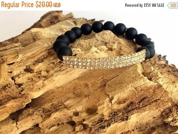 Mothers Day ON SALE Rhinestone Bracelet  Black Matte by GULDENTAKI