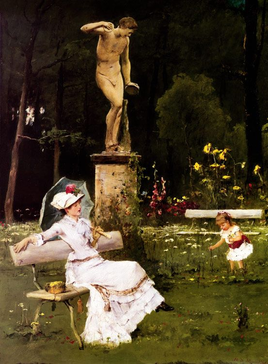 In the park by  Mihály Munkácsy, (Hungarian 1844-1900)