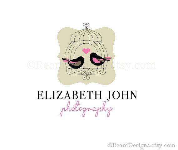 Logo Design Premade Bird Cage Heart Shabby Chic By Reanidesigns 95 00