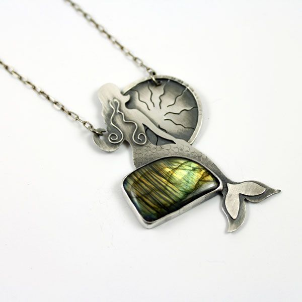 Siren in silver with labradorite.