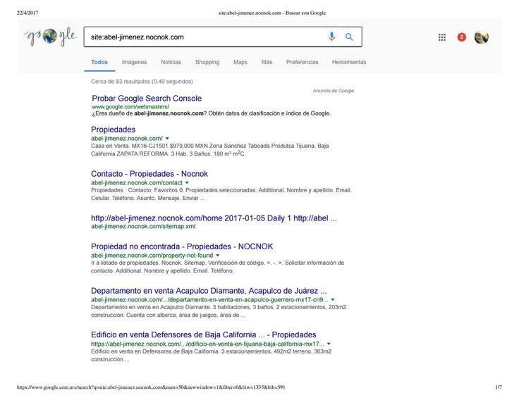 Micrositio abel jimenez portal nocnok inventario de propiedades identificado e indexado por google n