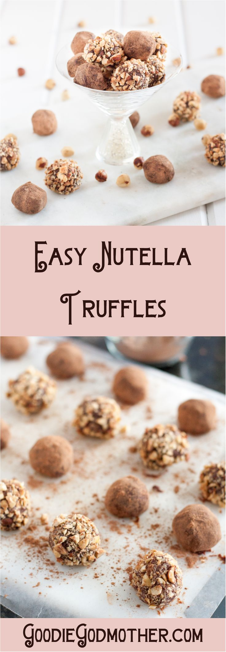 Nutella truffles are an easy edible gift idea! Roll them in toasted hazelnuts, or keep it classic with a cocoa powder coating.